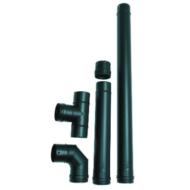 Rozsdamentes pelletkályha füstcső készlet (5 db - fekete - 80 mm)
