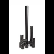 Rozsdamentes pelletkályha füstcső készlet (7 db - fekete - 80 mm)