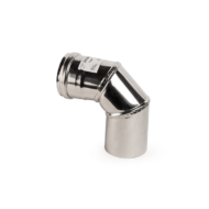 90°-os rozsdamentes pelletkályha füstcső könyök - fémszínű (80 mm)