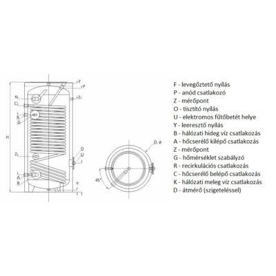 SUNSYSTEM SWP N 200 indirekt használati meleg víz tartály hőszivattyúhoz (150 liter) - 1 hőcserélővel