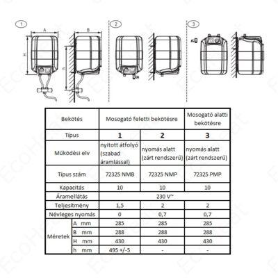 ELDOM 10 literes elektromos vízmelegítő - pult fölé telepíthető alsó kifolyású (B energia osztály / 2 kW)