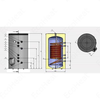 ELDOM Green Line S2P 500 álló indirekt HMV tartály (500 liter / 2 párhuzamos hőcserélő / 9 kW elektromos fűtőbetét)
