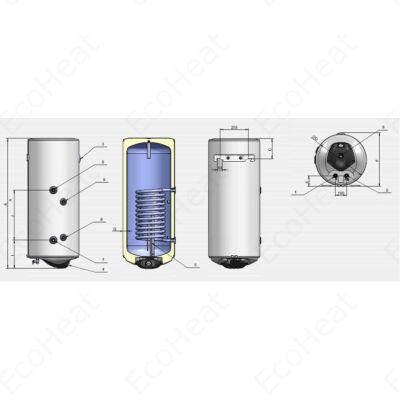 ELDOM Green Line SR150 - indirekt használati meleg víz tartály 1 hőcserélővel (jobbos / 150 liter / 3 kW / 460 mm Ø)