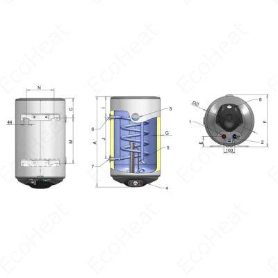 ELDOM Thermo 150 - indirekt használati meleg víz tartály 1 hőcserélővel (bal oldali / 150 liter / 2 kW / 462 mm Ø)