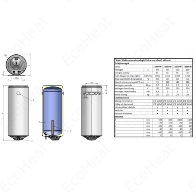 ELDOM Style 80 literes keskeny kialakítású zománcozott elektromos vízmelegítő (2 kW - 387 mm Ø)